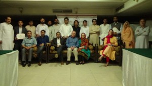 A group photo of the participants of certificate distribution ceremony for IBCD program held in Islamabad